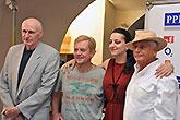 Martin Hilský, Petr Čtvrtníček, Petra Horváthová a Jiří Menzel, Tisková konference LSS 2014, foto: Dušan Prouza
