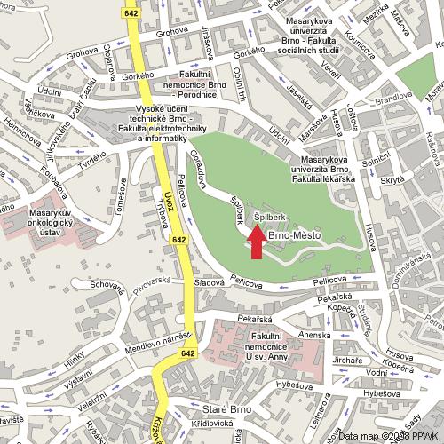 Hrad Špilberk, Brno, poloha na mapě, zdroj: Google Maps - http://maps.google.cz