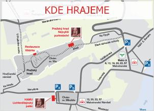 Kde hrajeme - schématická mapa pražských scén